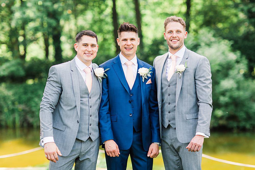 Groom Groomsmen Suit Grey Navy Ties Sheene Mill Wedding Terri & Lori Photography and Film Studio