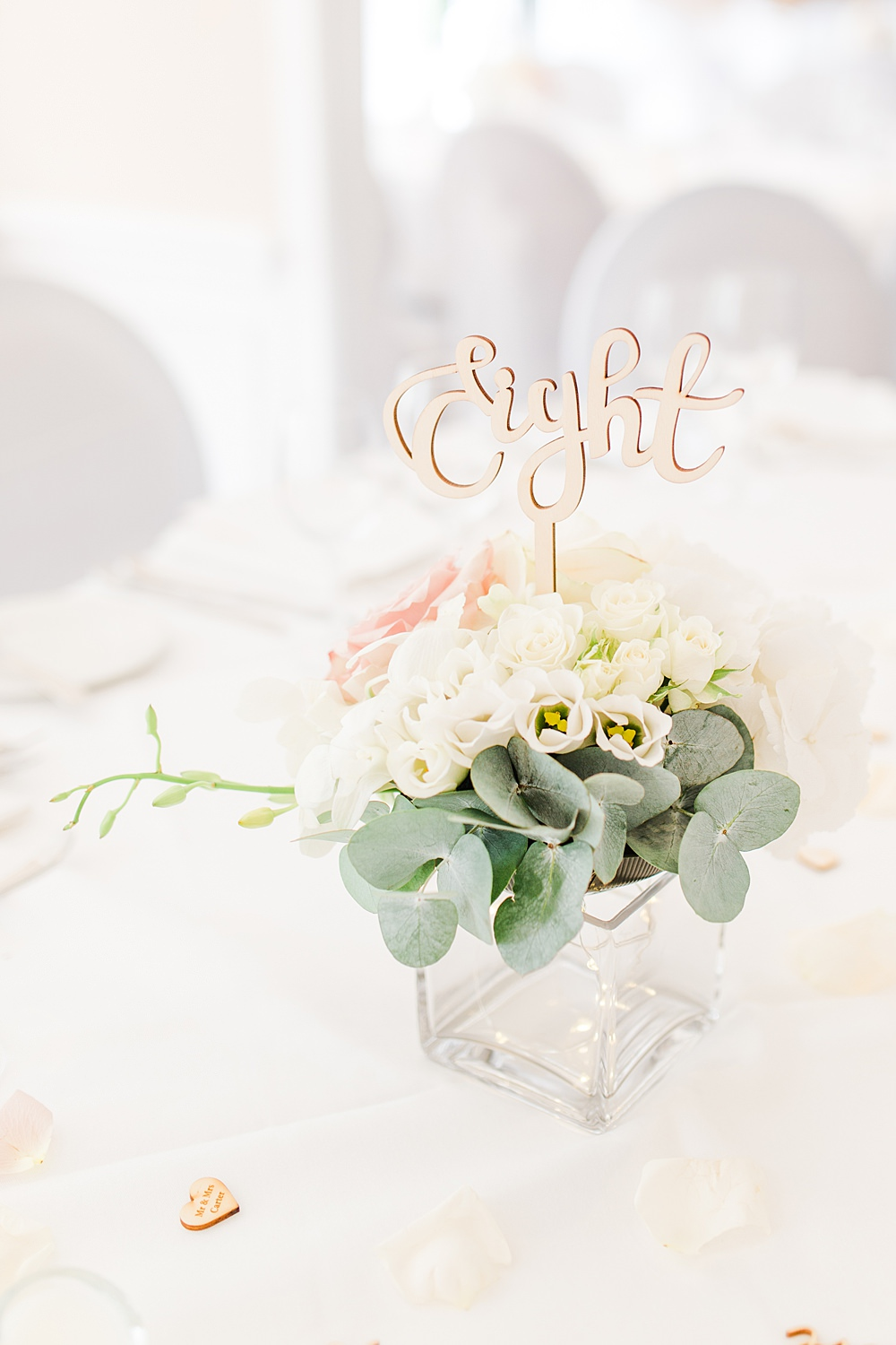 Table Flowers Decor Centrepiece Laser Cut Table Name Eucalyptus Rose Sheene Mill Wedding Terri & Lori Photography and Film Studio