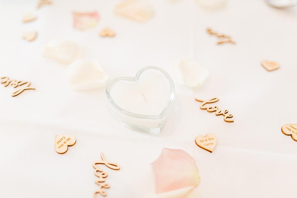 Table Confetti Candles Sheene Mill Wedding Terri & Lori Photography and Film Studio