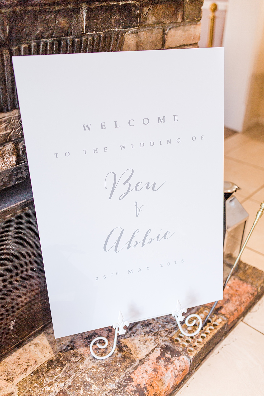 Welcome Sign Modern Calligraphy Sheene Mill Wedding Terri & Lori Photography and Film Studio