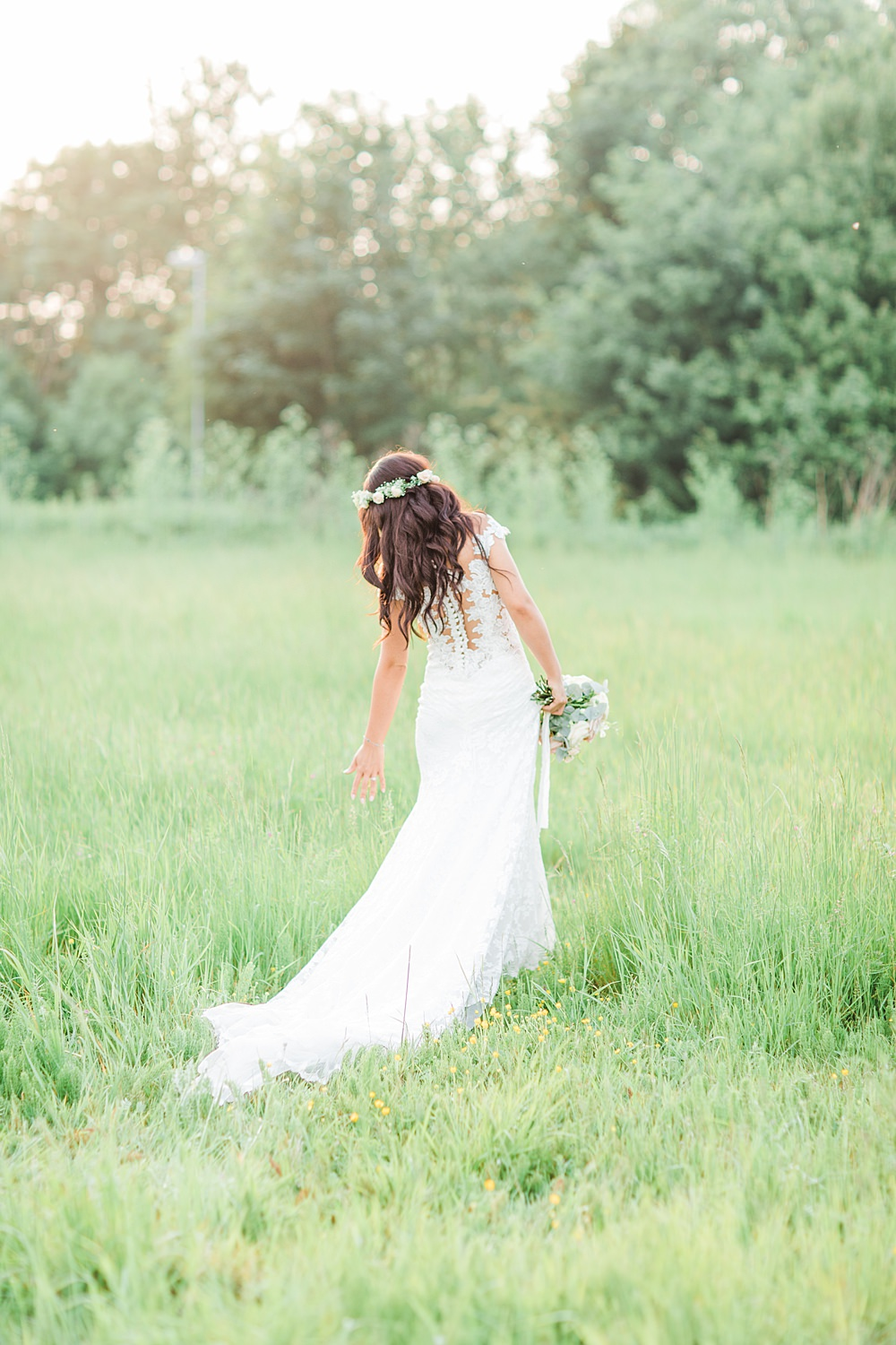 Bride Bridal Dress Gown Lace Fishtail Fit and Flare Illusion Sheene Mill Wedding Terri & Lori Photography and Film Studio