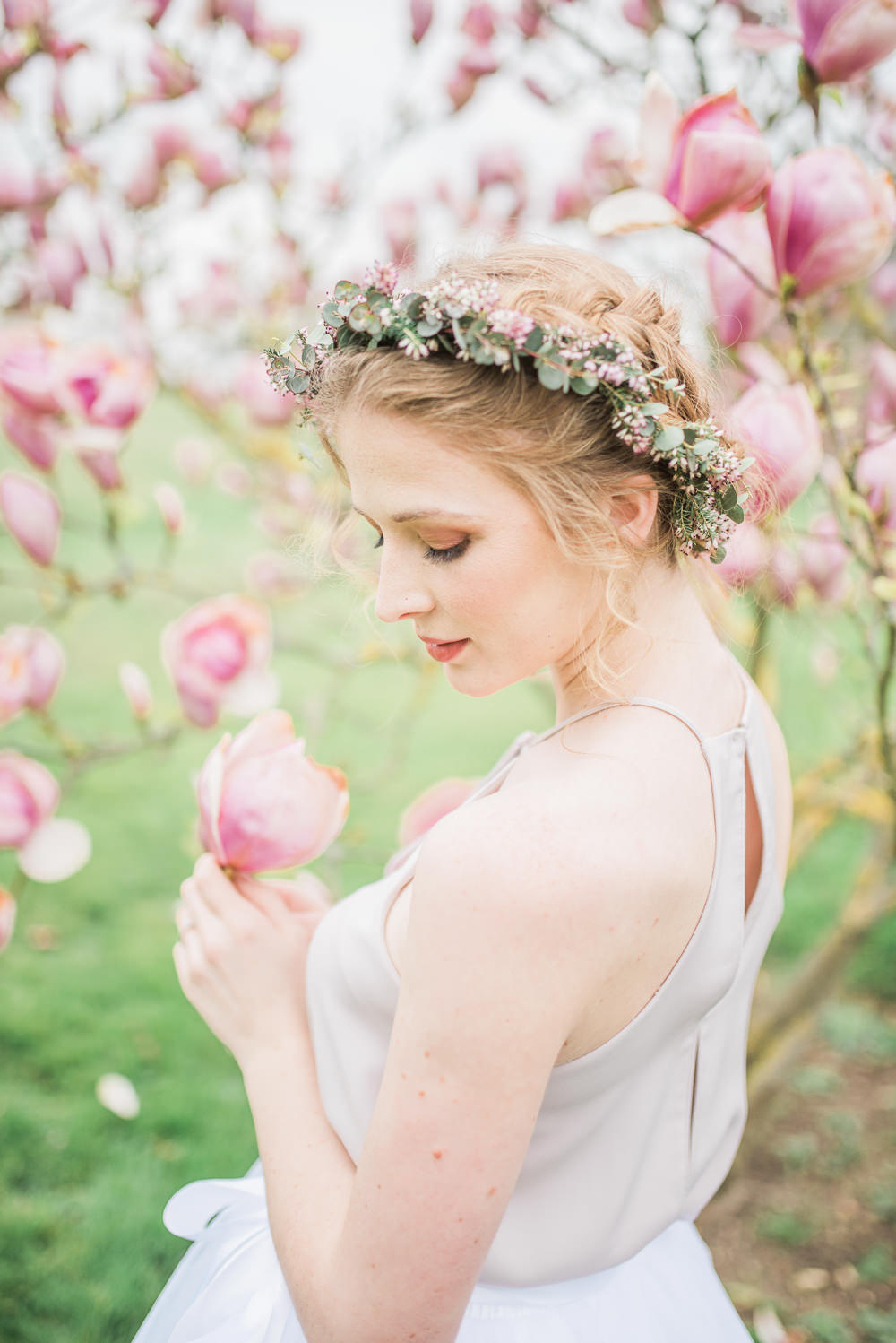 Bride Bridal Bridesmaid Hair Style Up Do Flower Crown Springtime Bridal Shower Ideas Hen Party Laura Jane Photography