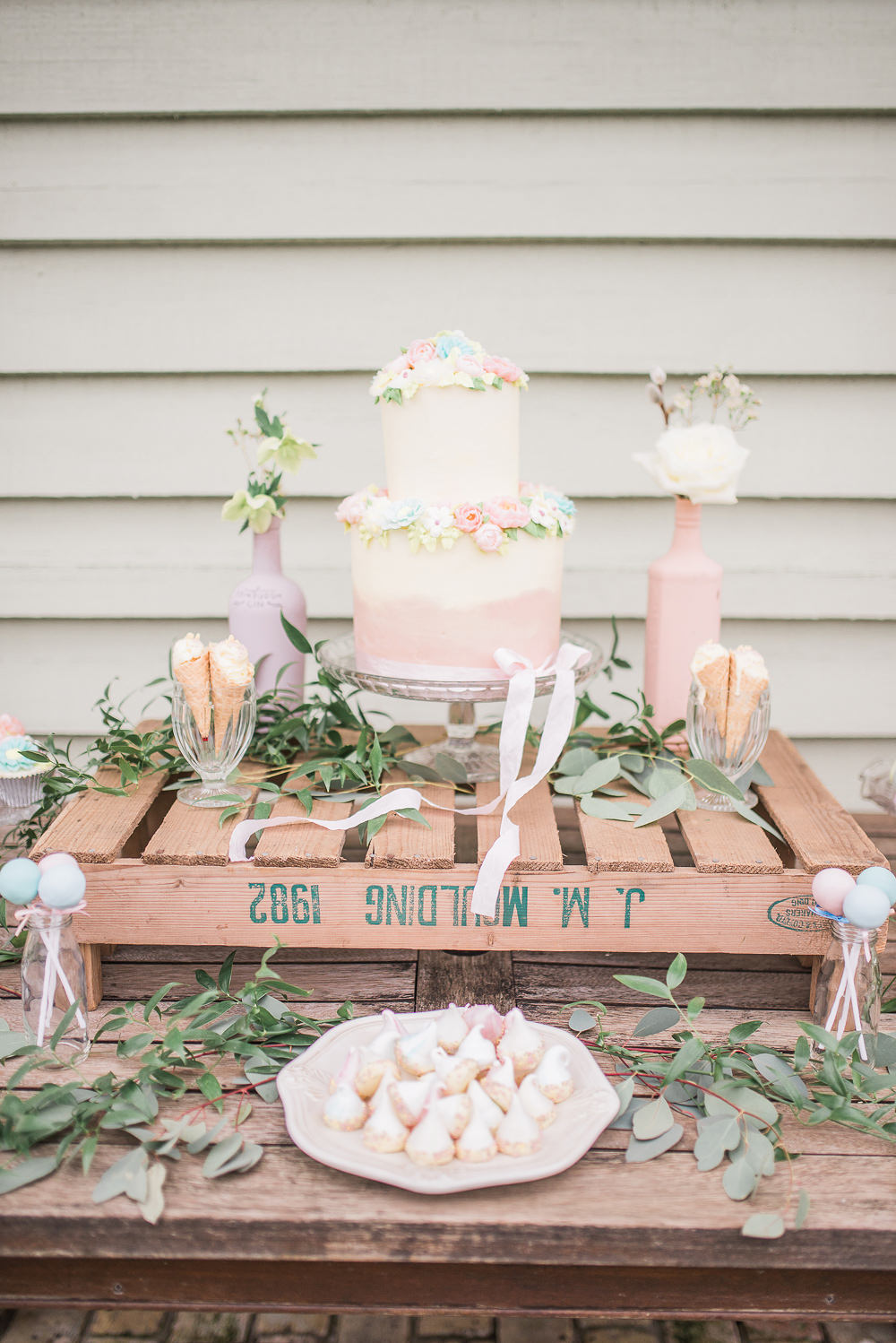 Cake Dessert Table Bar Station Rustic Pretty Springtime Bridal Shower Ideas Hen Party Laura Jane Photography