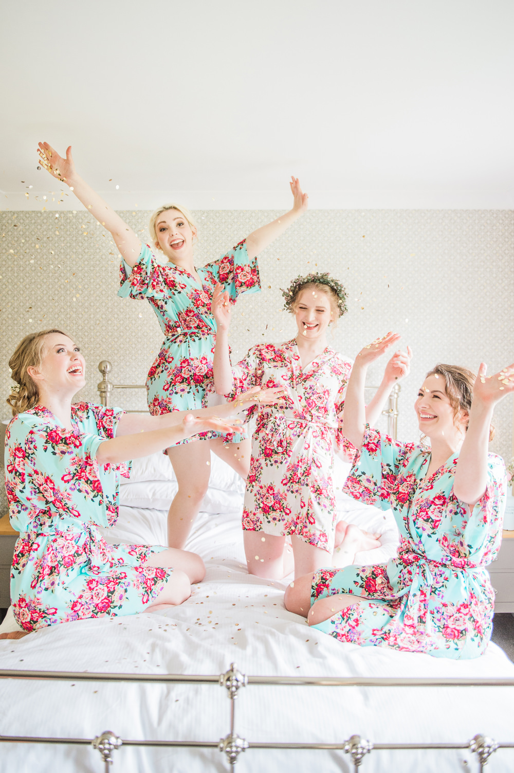 Bride Bridesmaids Dressing Gowns Robes Prep Glitter Confetti Springtime Bridal Shower Ideas Hen Party Laura Jane Photography