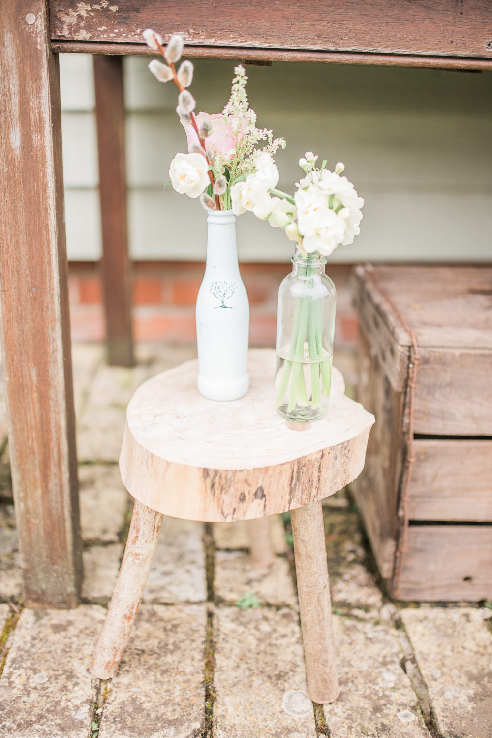 Wooden Stool Flowers Bottles Springtime Bridal Shower Ideas Hen Party Laura Jane Photography