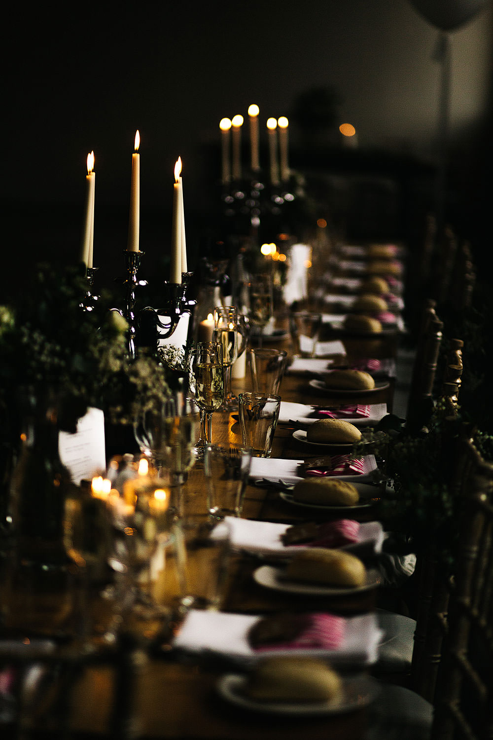Long Tables Decor Decoration Candles Candelabra Greenery Foliage The Arches Halifax Wedding Paul Joseph Photography