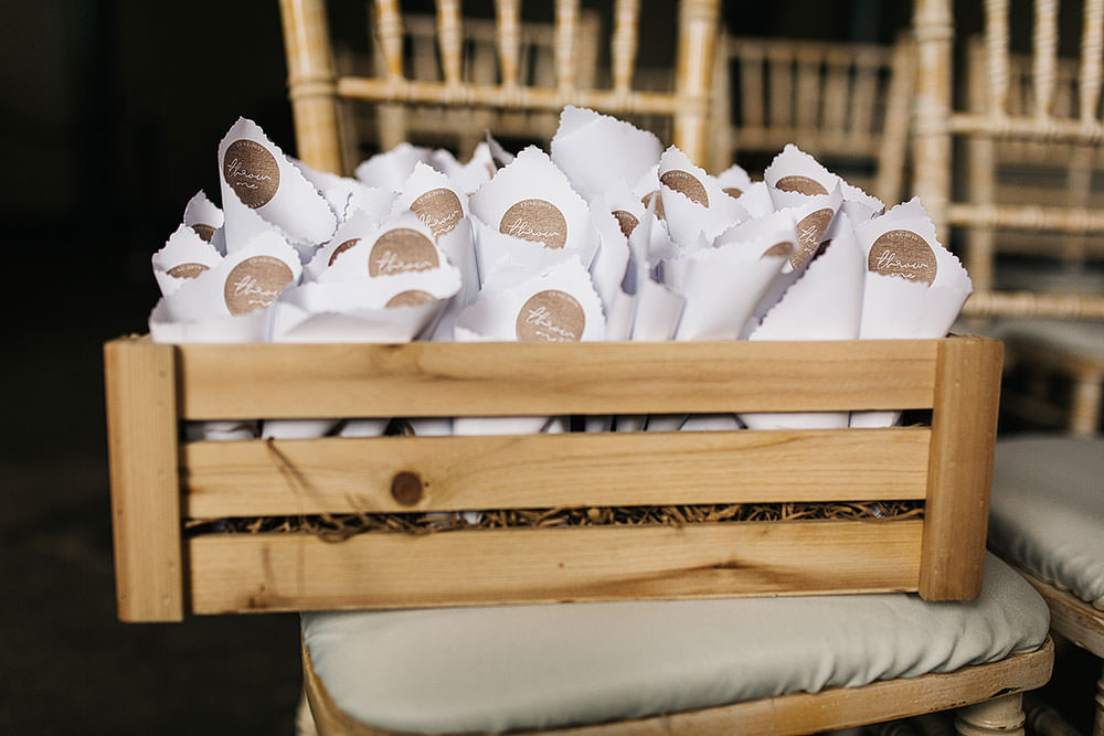 Confetti Cones Wooden Box Crate The Arches Halifax Wedding Paul Joseph Photography
