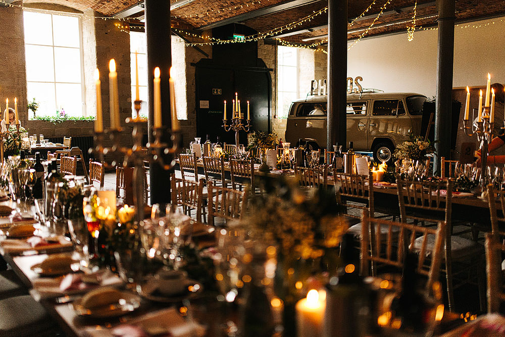 Long Tables Decor Decoration Candles Candelabra Greenery Foliage Fairy Lights Lighting The Arches Halifax Wedding Paul Joseph Photography