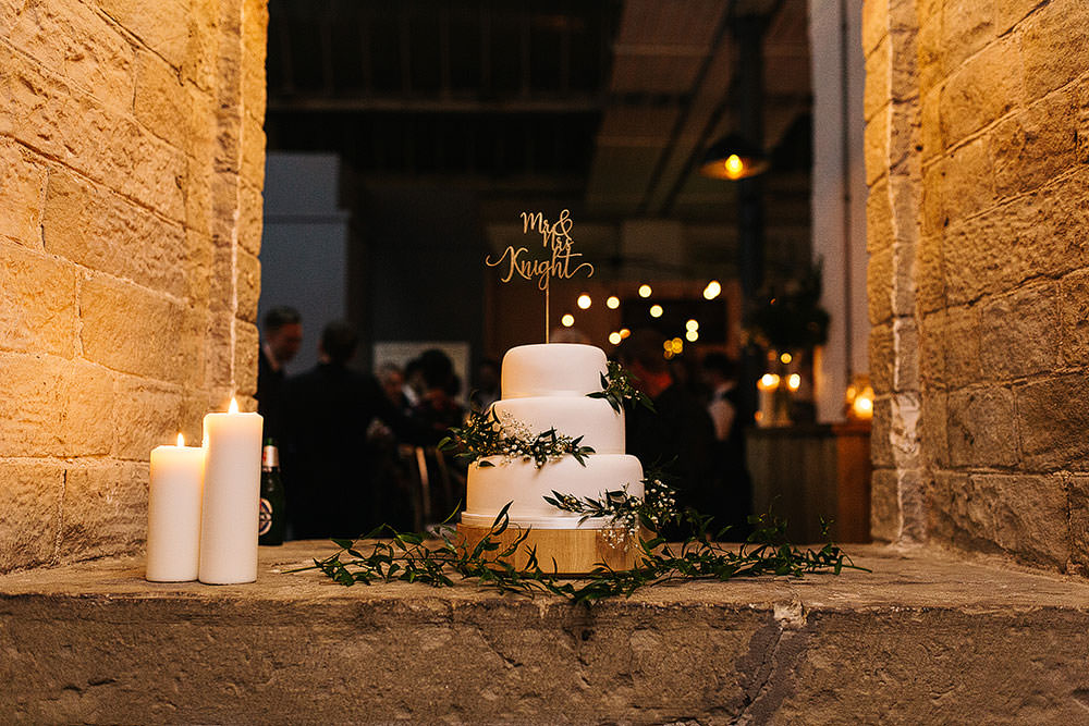 Iced Cake Greenery Foliage The Arches Halifax Wedding Paul Joseph Photography