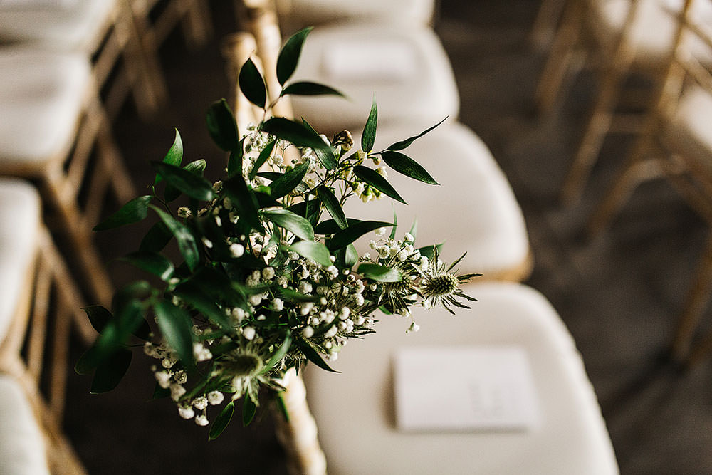 Chair Flowers Greenery Foliage Pew End Cermeony Aisle The Arches Halifax Wedding Paul Joseph Photography