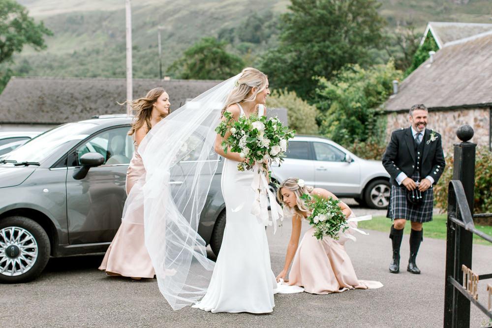 Bride Bridal Deep V Plunge Neckline Dress Sleeveless Slim Fit Veil Tin Shed Knockraich Farm Wedding The Gibsons Photography