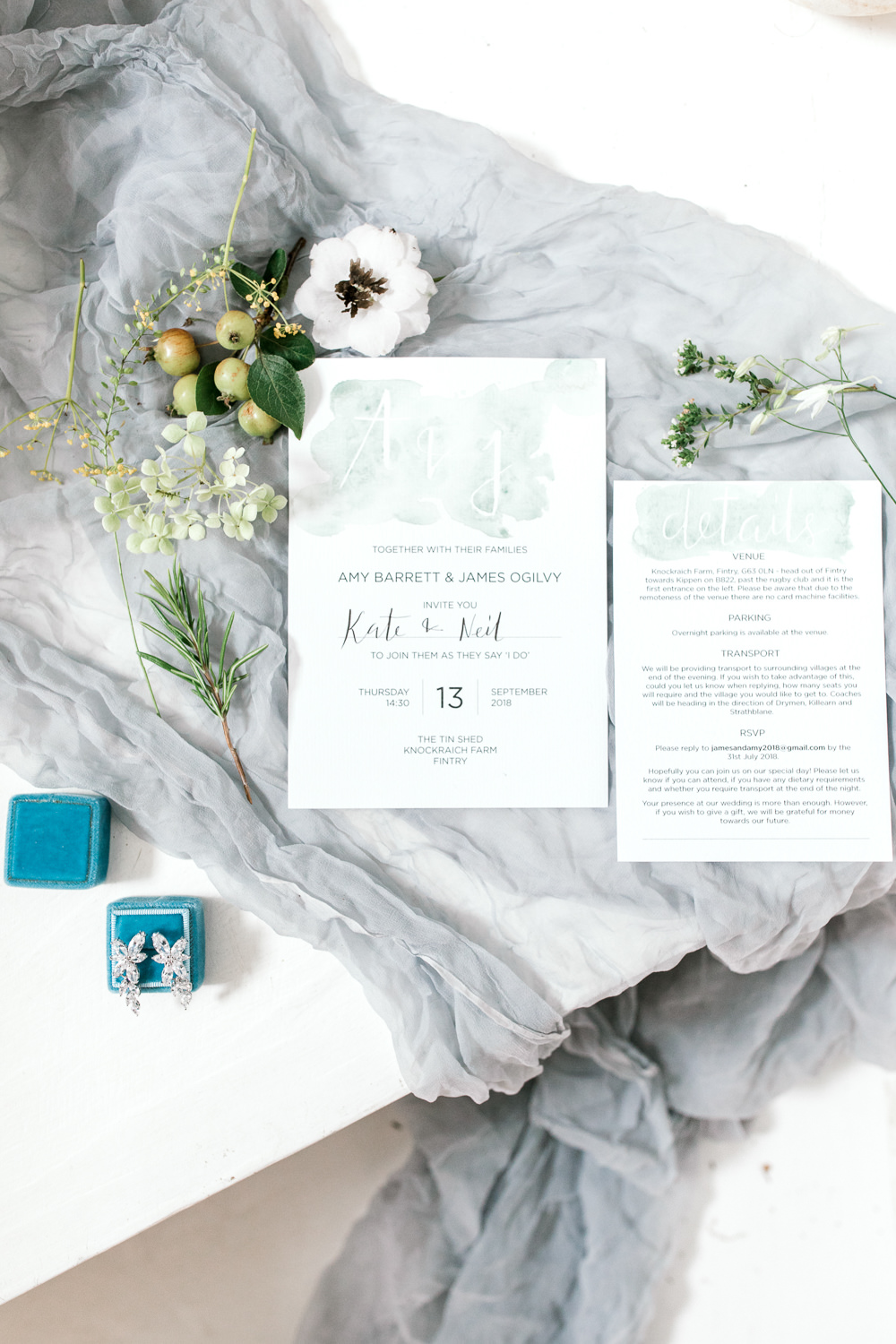 Stationery Watercolour Calligraphy Invitation Tin Shed Knockraich Farm Wedding The Gibsons Photography