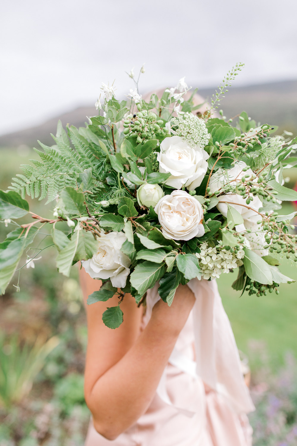 White Flower Rose Foliage Greenery Bouquet Tin Shed Knockraich Farm Wedding The Gibsons Photography