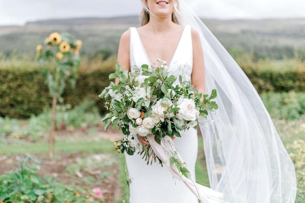 Bride Bridal Greenery White Flower Bouquet Ribbon Tin Shed Knockraich Farm Wedding The Gibsons Photography