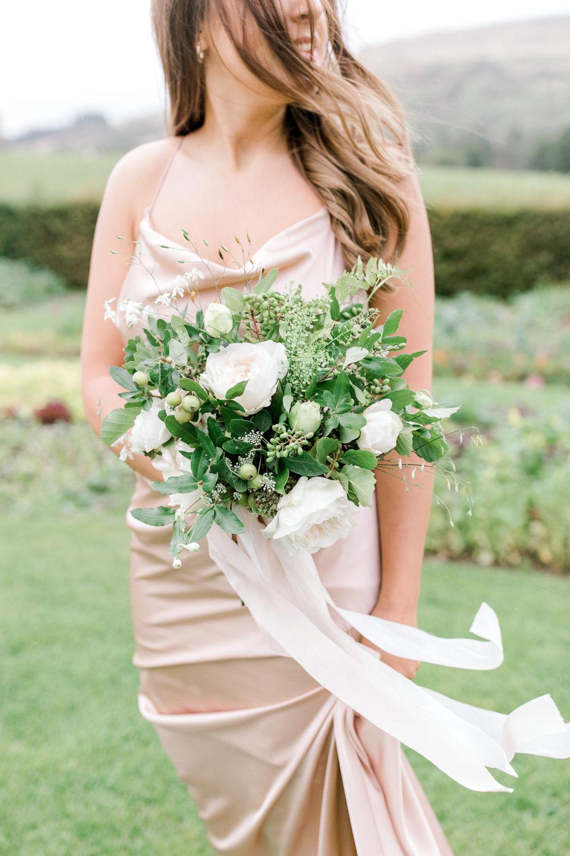 White Flower Greenery Foliage Bouquet Ribbon Tin Shed Knockraich Farm Wedding The Gibsons Photography
