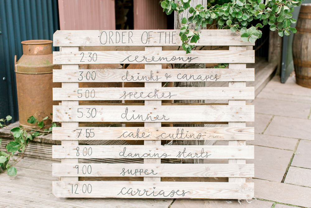 Pallet Order of the Day Tin Shed Knockraich Farm Wedding The Gibsons Photography