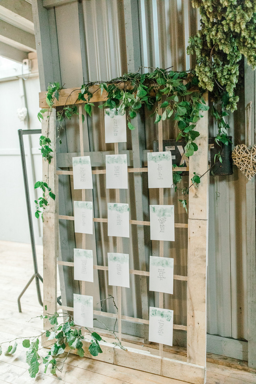 Wooden Frame Table Plan Seating Chart Greenery Foliage Tin Shed Knockraich Farm Wedding The Gibsons Photography