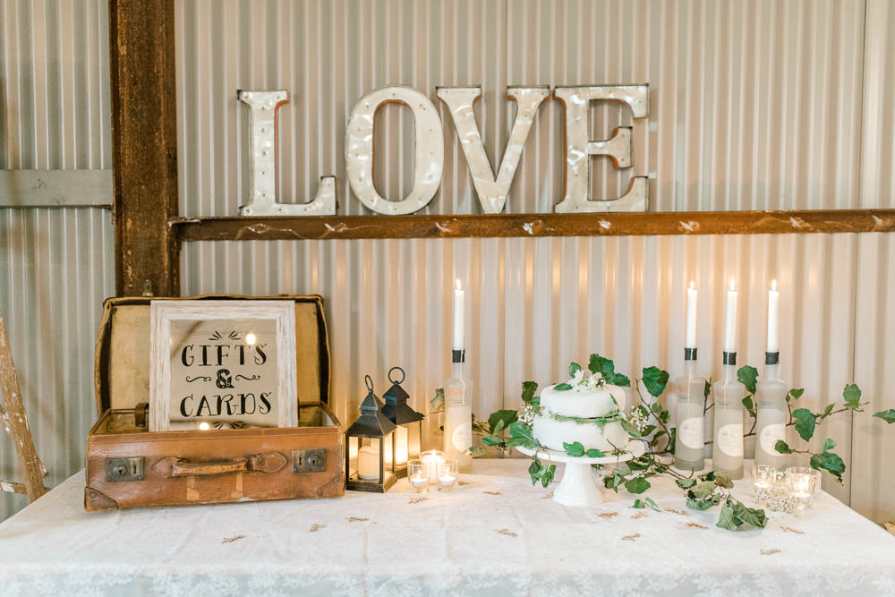 Gifts Cards Suitcase Foliage Candles Tin Shed Knockraich Farm Wedding The Gibsons Photography