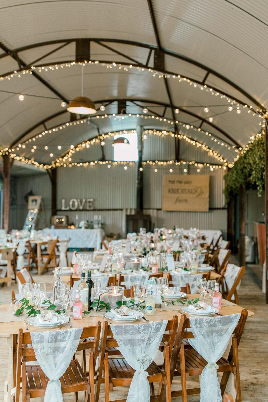 Lace Chair Backs Fairy Lights Tin Shed Knockraich Farm Wedding The Gibsons Photography