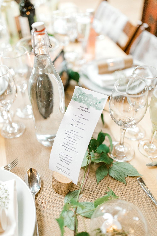 Menu Watercolour Table Setting Tin Shed Knockraich Farm Wedding The Gibsons Photography