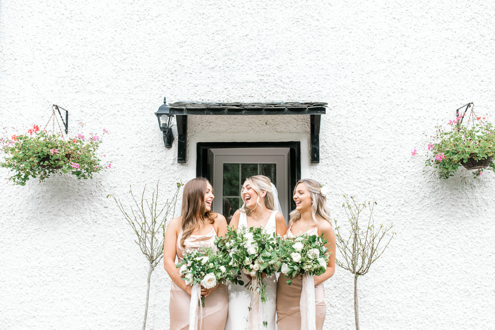 Bride Bridal Deep V Plunge Neckline Dress Sleeveless Slim Fit Silk Bias Cut Bridesmaids Peach Veil Tin Shed Knockraich Farm Wedding The Gibsons Photography