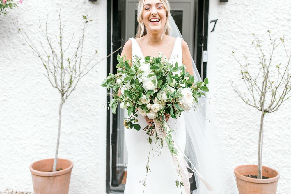 Bride Bridal Deep V Plunge Neckline Dress Sleeveless Slim Fit Foliage Bouquet Veil Tin Shed Knockraich Farm Wedding The Gibsons Photography