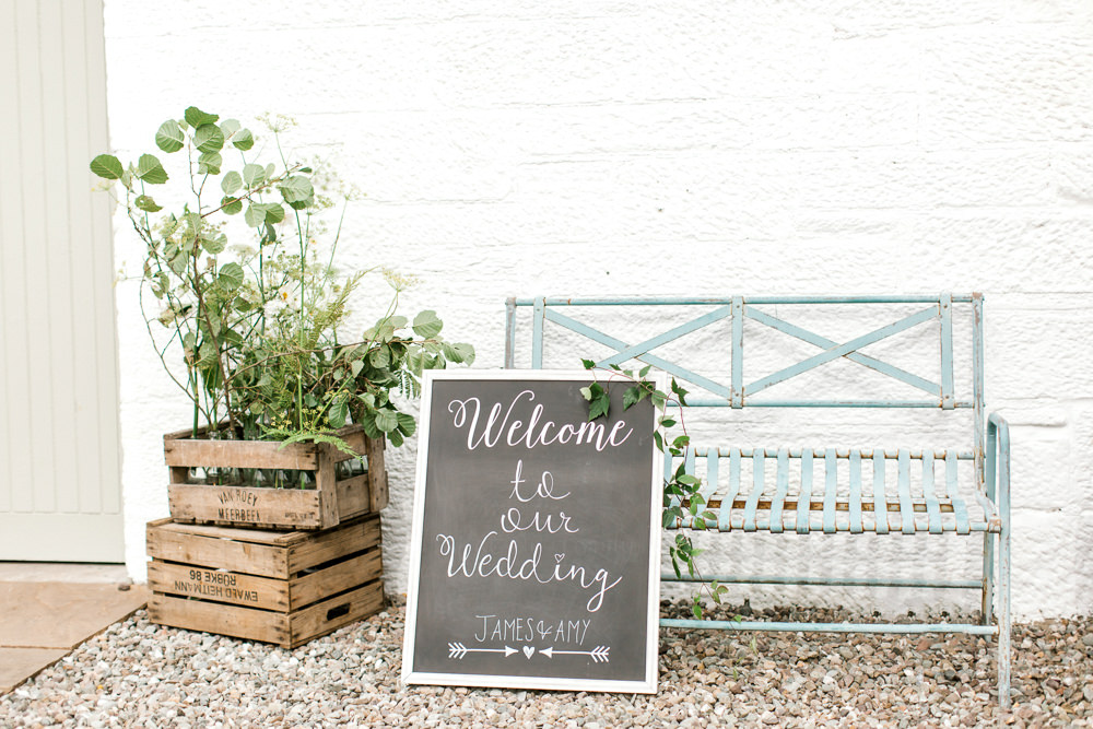 Chalk Board Welcome Sign Crate Foliage Tin Shed Knockraich Farm Wedding The Gibsons Photography