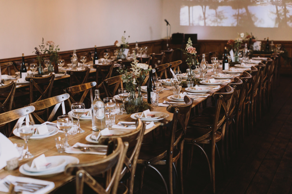 Wooden Rustic Table Setting Bottle Flowers Tram House Wedding Luke Hayden Photography