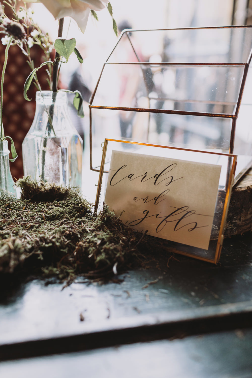 Cards & Gifts Terrarium Modern Calligraphy Moss Tram House Wedding Luke Hayden Photography