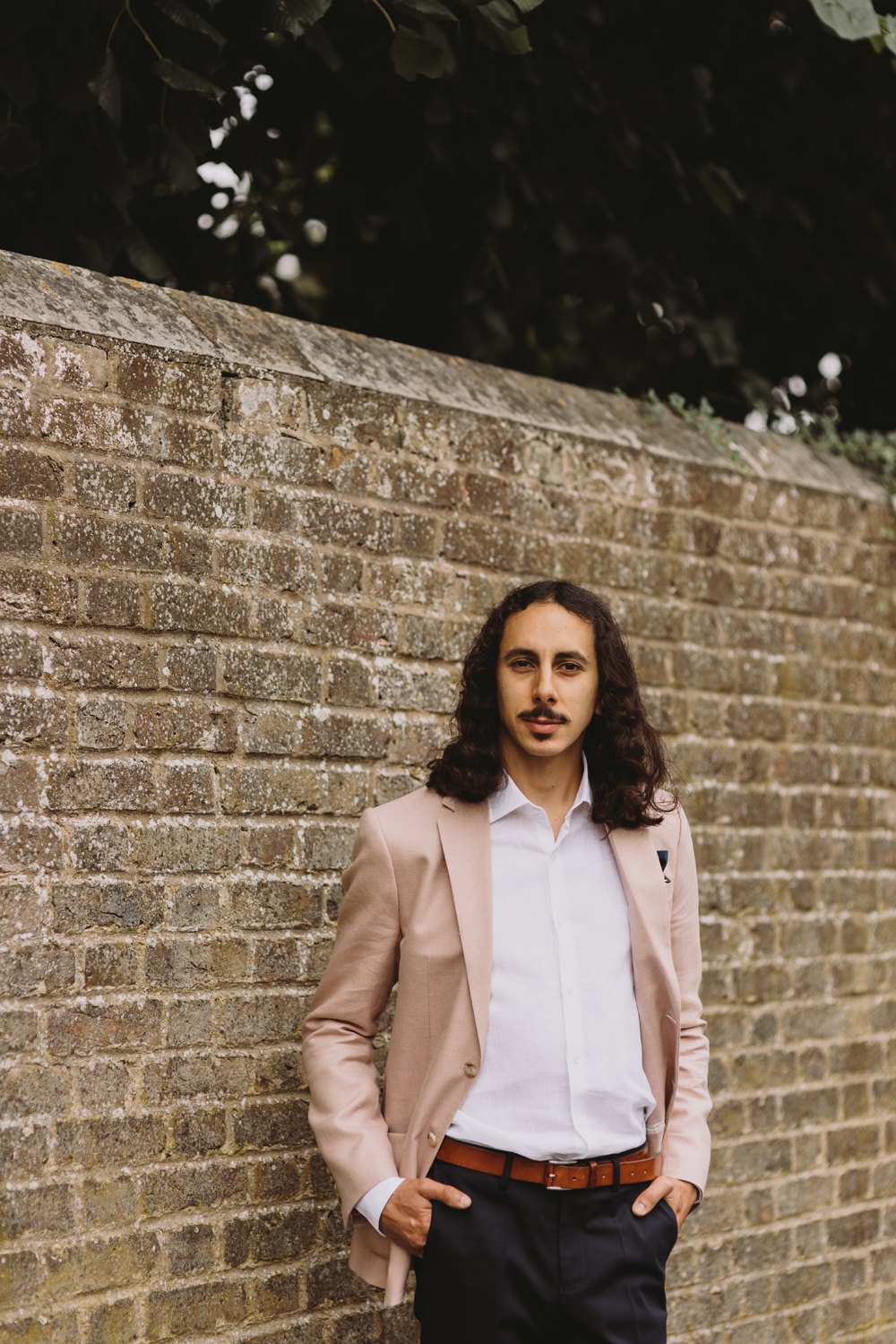 Pink Jacket White Shirt Chinos Casual Groom Pocket Square Tram House Wedding Luke Hayden Photography