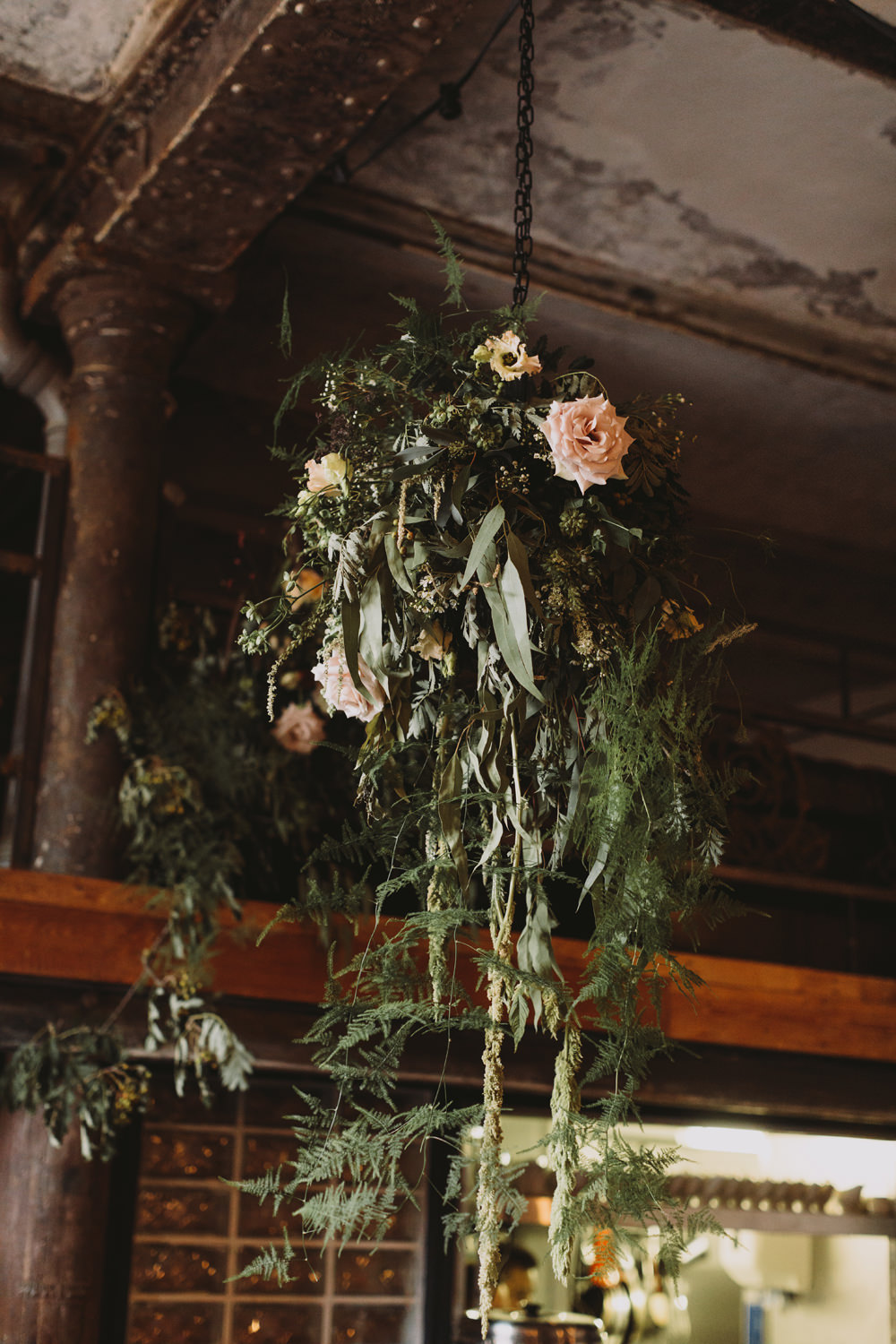 Hanging Floral Arrangement Flowers Foliage Rose Tram House Wedding Luke Hayden Photography