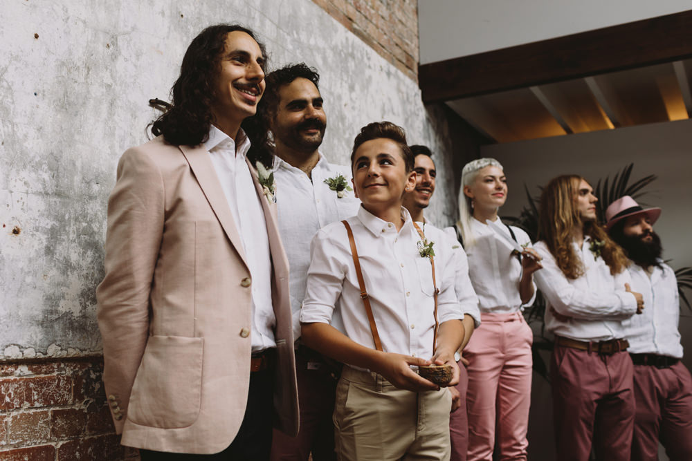Casual Pink Jacket Chinos Groom Braces Groomsmen Salmon Mismatched Tram House Wedding Luke Hayden Photography