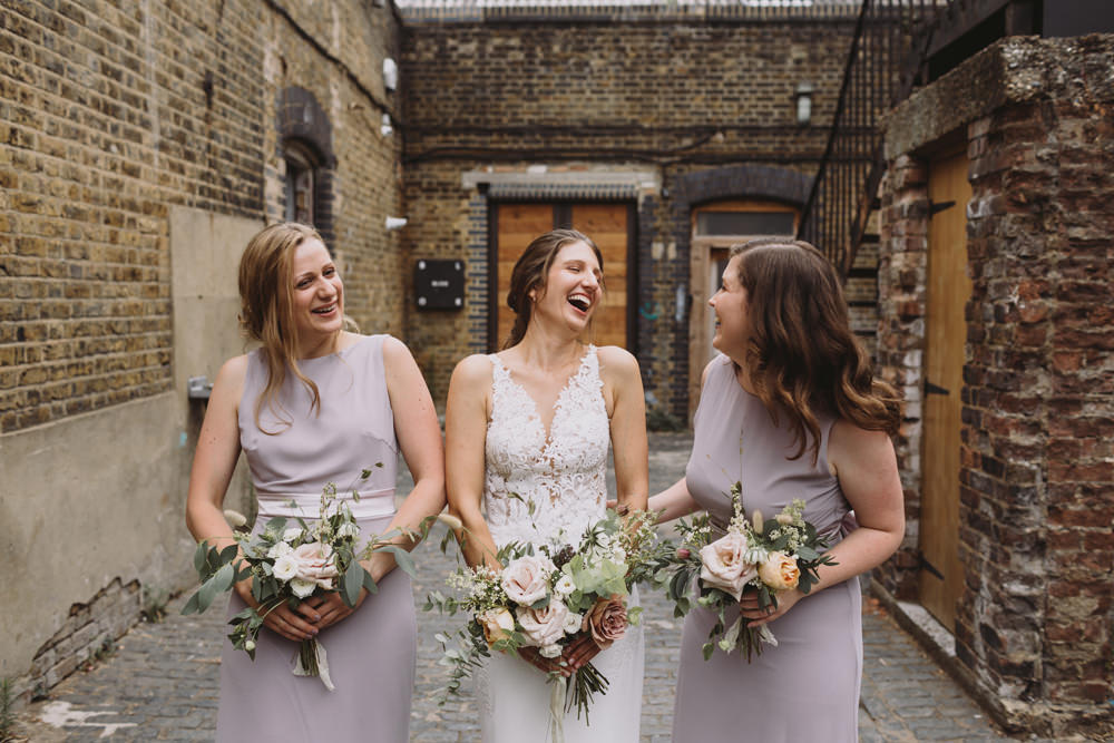 Bride Bridal Sleeveless V Neck Fit and Flare Train Pronovias Dress Gown Dusk TFNC Boat Neck Bridesmaids Wild Bouquet Loose Handtied Rose Tram House Wedding Luke Hayden Photography