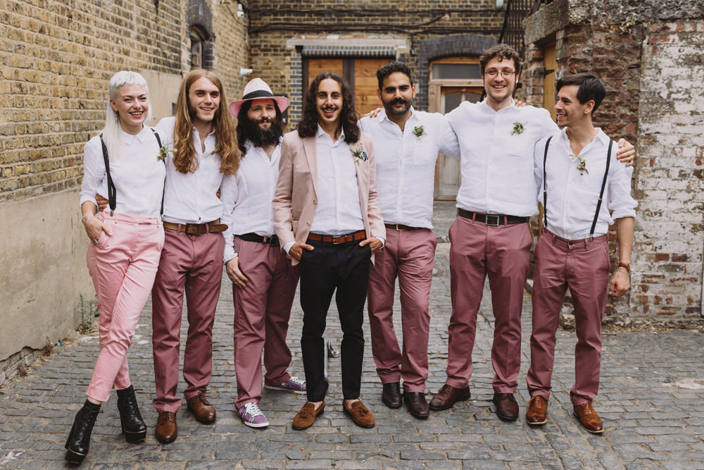 Pink Jacket Chinos Groom Mismatched Braces Groomsmen Groomswoman Salmon Trousers Tram House Wedding Luke Hayden Photography