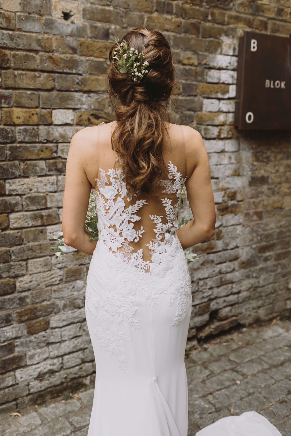 Bride Bridal Illusion Lace Back Dress Gown Pronovias Leaf Foliage Hair Up Do Tram House Wedding Luke Hayden Photography