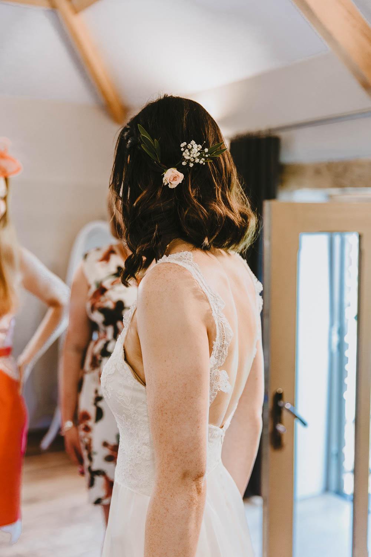 Bride Bridal Hair Short Bob Flowers Trevenna Barns Wedding Wild Tide Creative