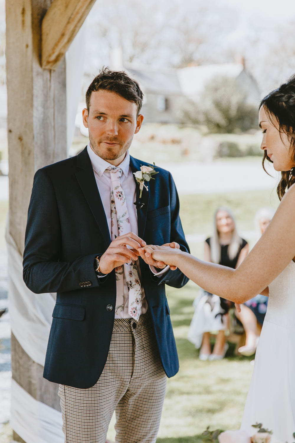 Groom Suit Style Look Blazer Chinos Floral Tie Braces Trevenna Barns Wedding Wild Tide Creative