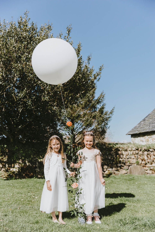 Flower Girls Dresses Balloons Trevenna Barns Wedding Wild Tide Creative