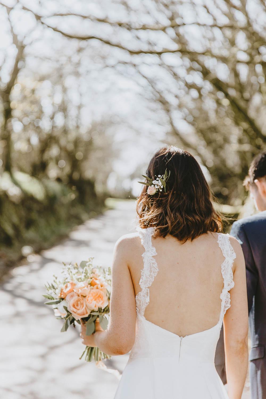 Bride Bridal Dress Gown Chantel Lauren Lace Straps Train Trevenna Barns Wedding Wild Tide Creative