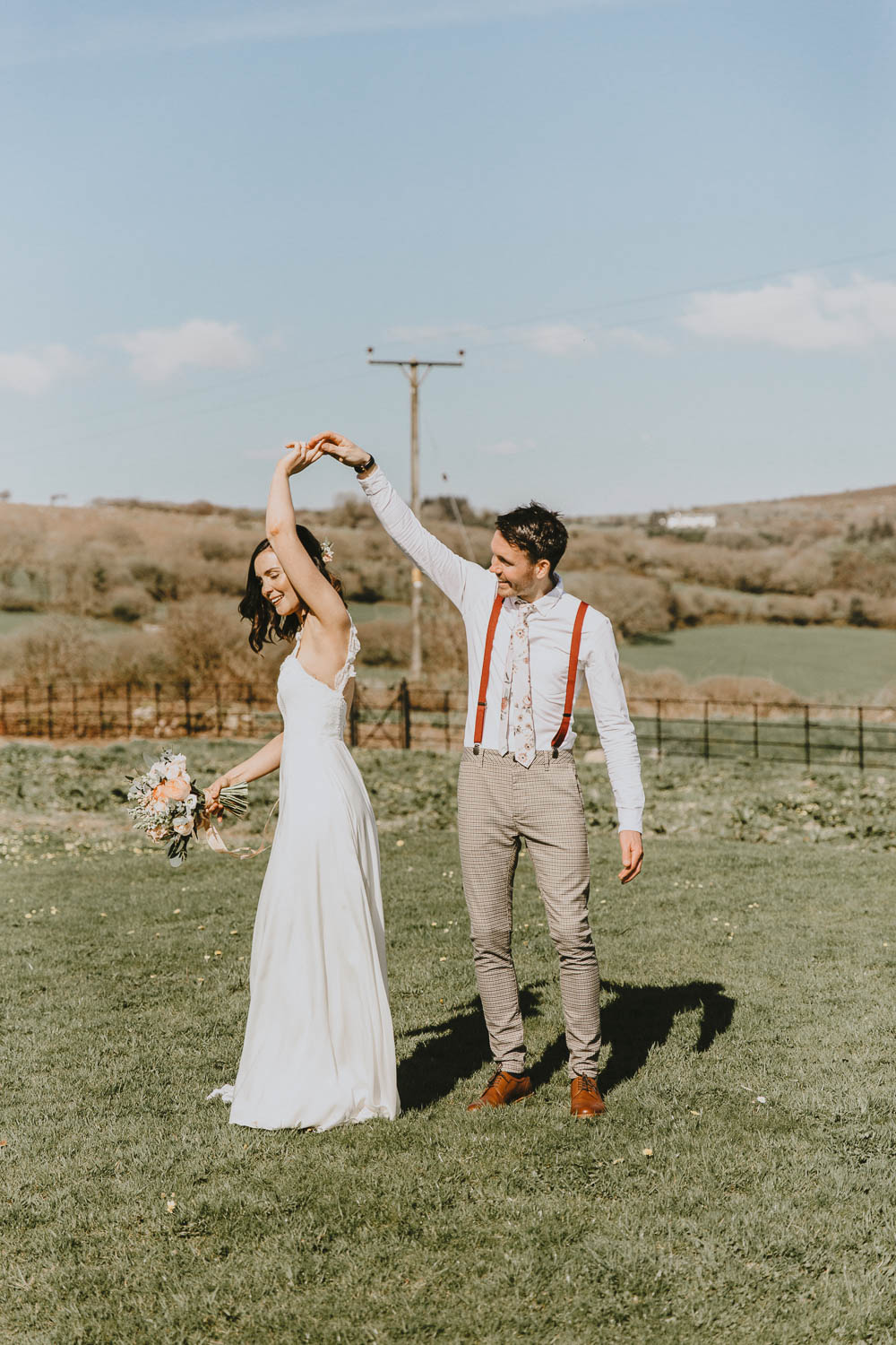 Groom Suit Style Look Chinos Floral Tie Braces Trevenna Barns Wedding Wild Tide Creative