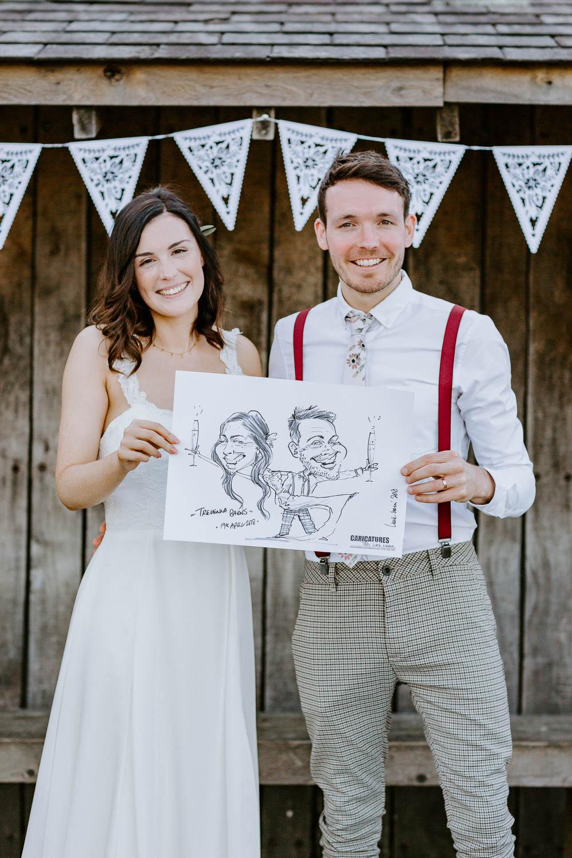 Caricaturist Trevenna Barns Wedding Wild Tide Creative