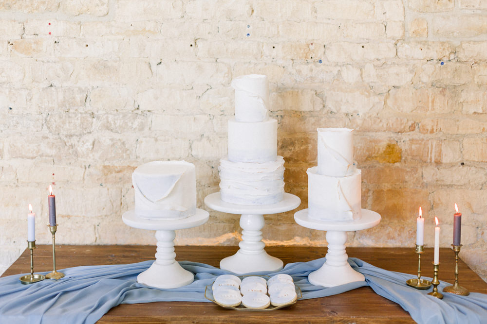 Cake Table Silk Runner Candles Winter Blue Barn Wedding Ideas Joanna Briggs Photography