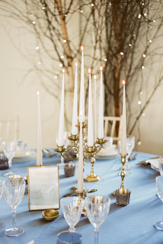 Candle Sticks Table Decor Tablescape Winter Blue Barn Wedding Ideas Joanna Briggs Photography