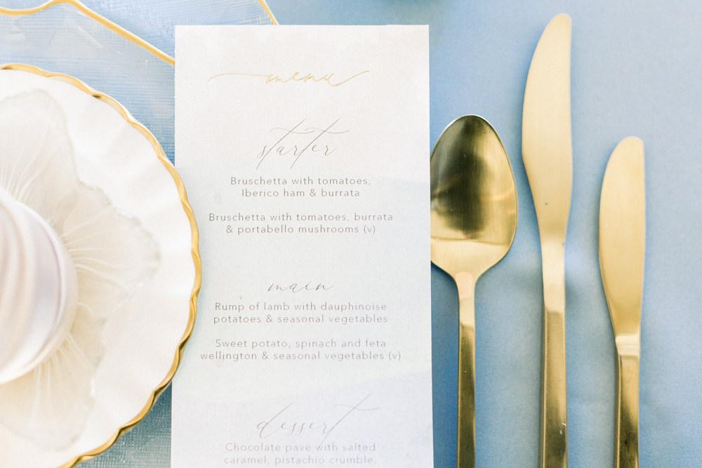 Gold Cutlery Winter Blue Barn Wedding Ideas Joanna Briggs Photography