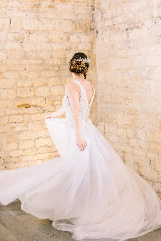 Dress Gown Bride Bridal Skirt Winter Blue Barn Wedding Ideas Joanna Briggs Photography