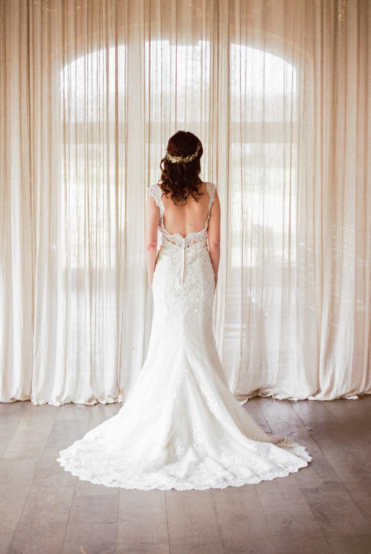 Dress Gown Bride Bridal Train Winter Blue Barn Wedding Ideas Joanna Briggs Photography