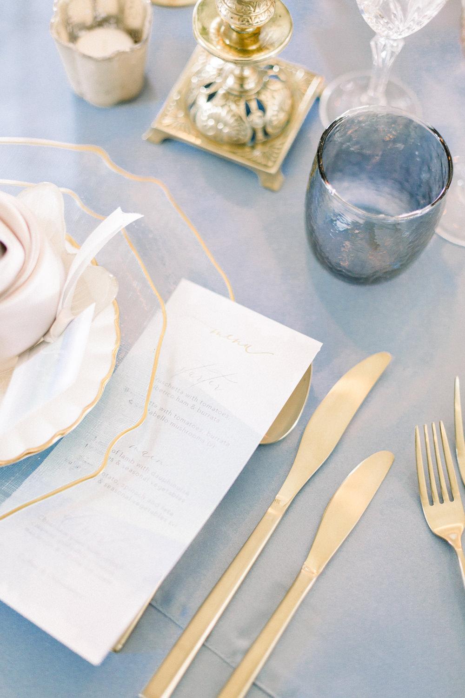 Stationery Gold Cutlery Glasses Winter Blue Barn Wedding Ideas Joanna Briggs Photography