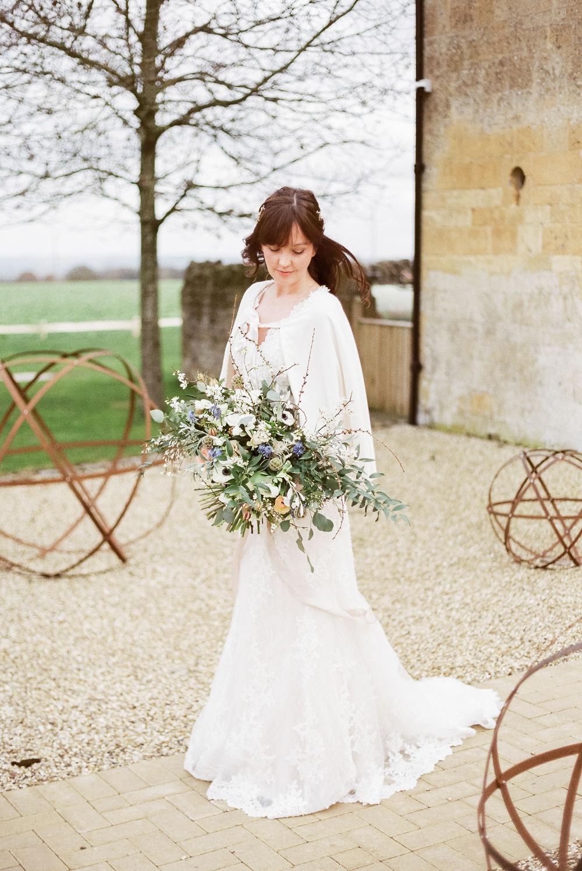 Dress Gown Bride Bridal Cape Winter Blue Barn Wedding Ideas Joanna Briggs Photography