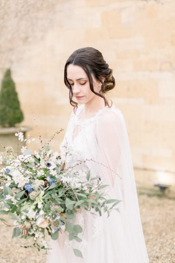 Dress Gown Bride Bridal Cape Veil Winter Blue Barn Wedding Ideas Joanna Briggs Photography
