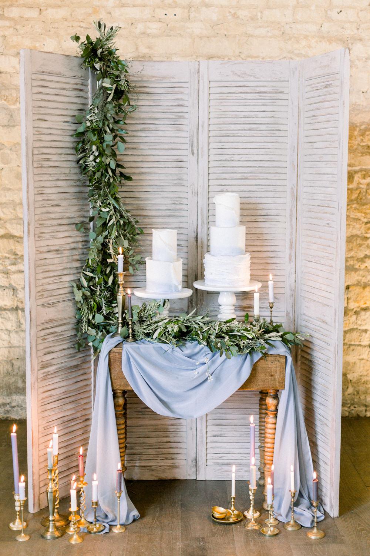 Cake Table Doors Shutters Greenery Foliage Candles Winter Blue Barn Wedding Ideas Joanna Briggs Photography